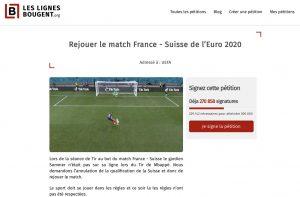 Pétition rejouer le match france suisse - euro 2020